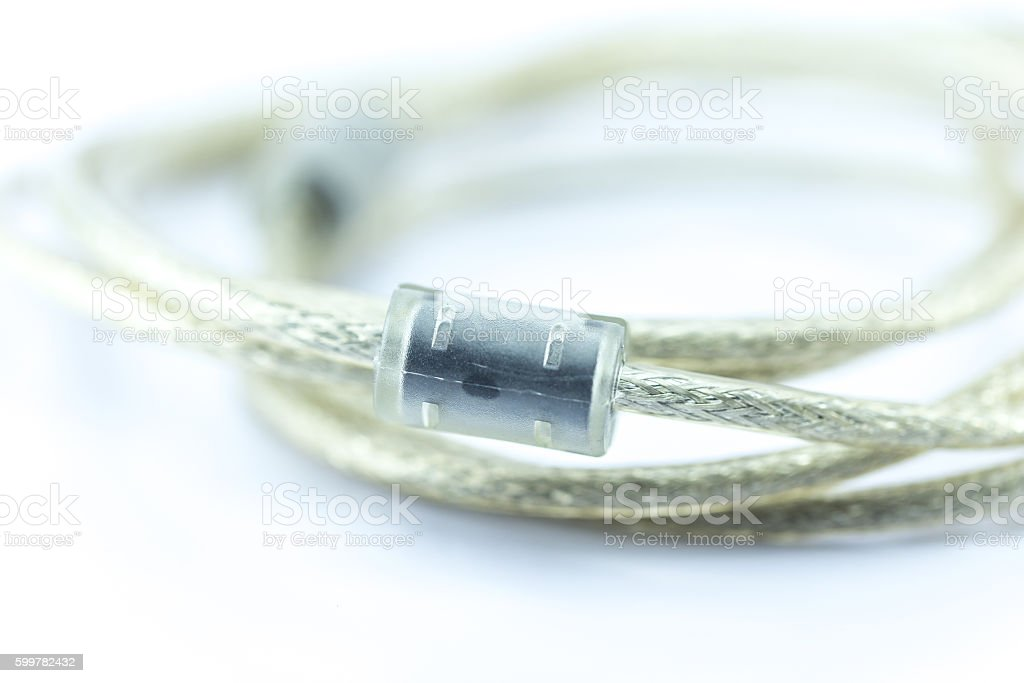 Ferrite Bead in Data Cable for Noise or EMI Filter stock photo
