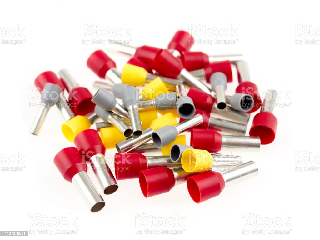 Ferrules or end sleeves for electrical cables stock photo