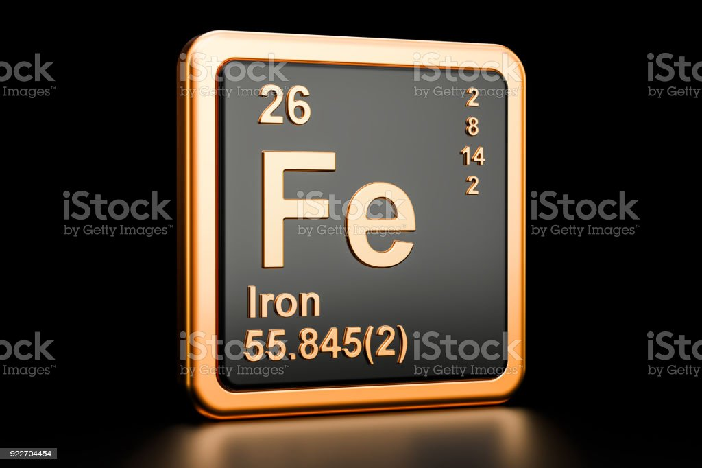Ferrum Iron Fe Chemical Element 3d Rendering Isolated On Black