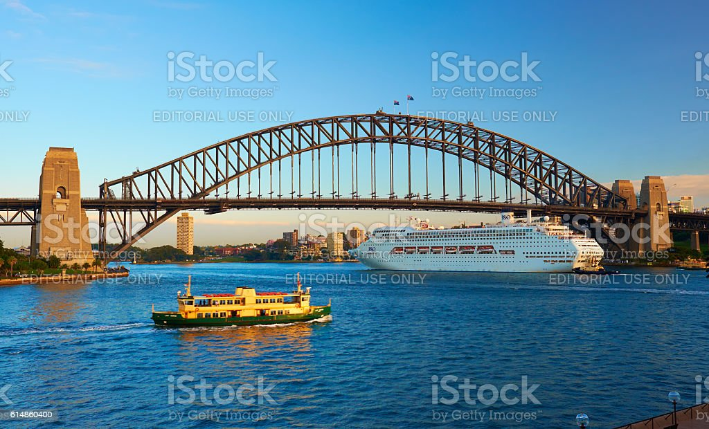 Ferry And P&O Cruise Ship Pacific Jewel In Sydney Harbour stock photo