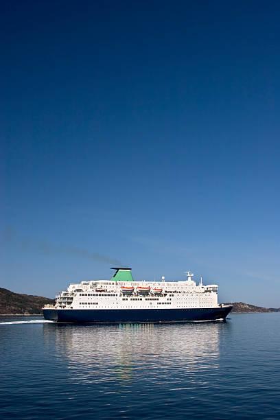 Ferry approaching Bergen, Norway. stock photo