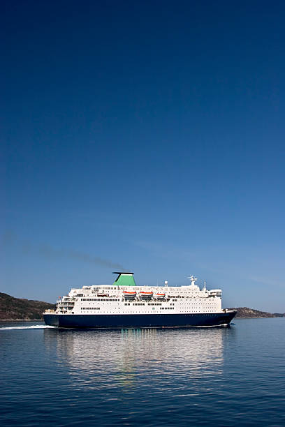 Ferry approaching Bergen, Norway. stock photo