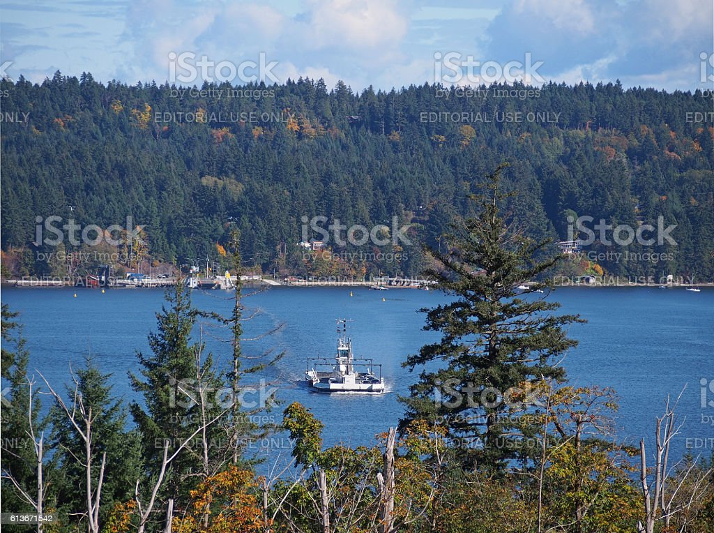 Ferry Approaching Vancouver Island from Denman Island stock photo