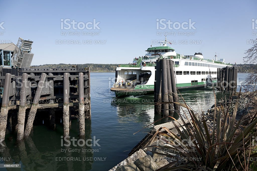 Ferry Arrives in Bremerton Washington stock photo
