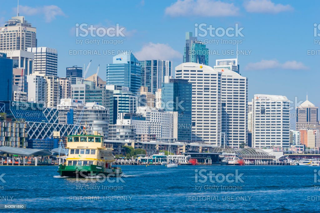 Ferry at Darling Harbour in Sydney stock photo