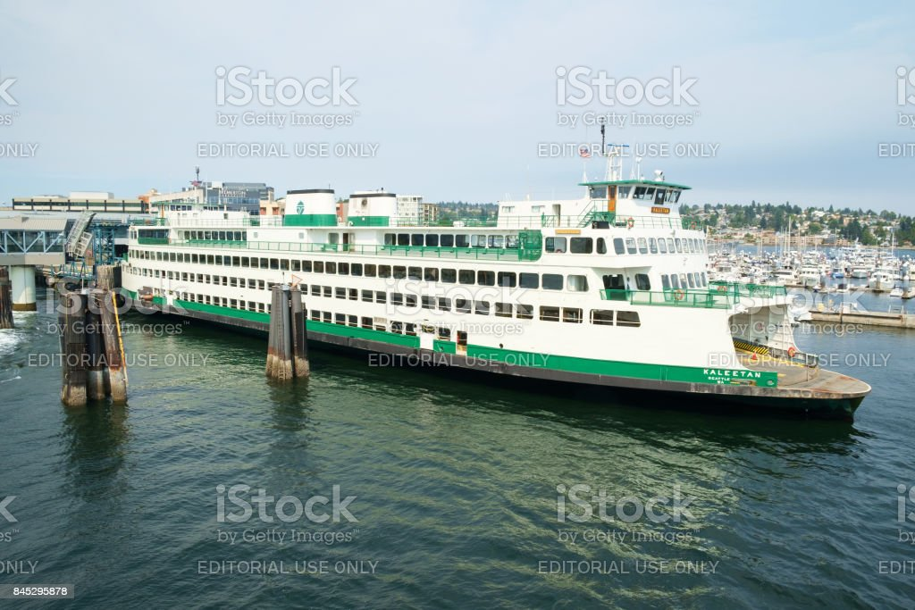 Ferry at dock stock photo
