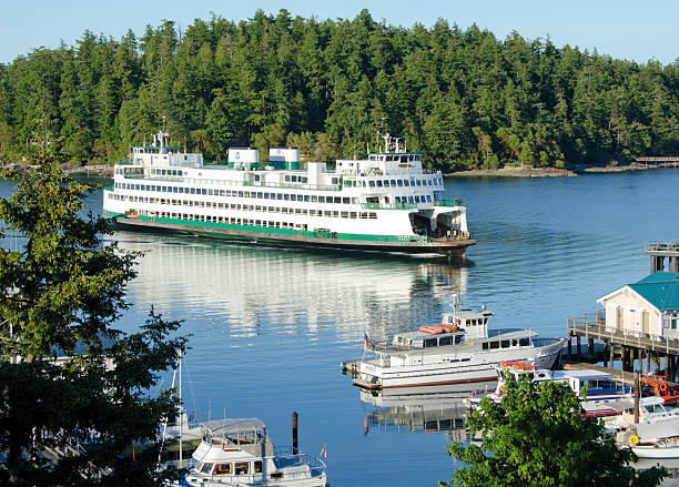 Ferry at Friday Harbor on San Juan Island stock photo