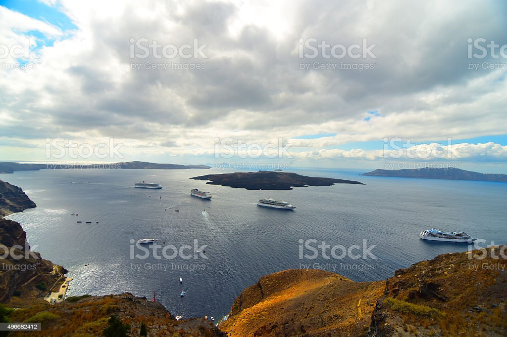 Ferry at Santorini stock photo