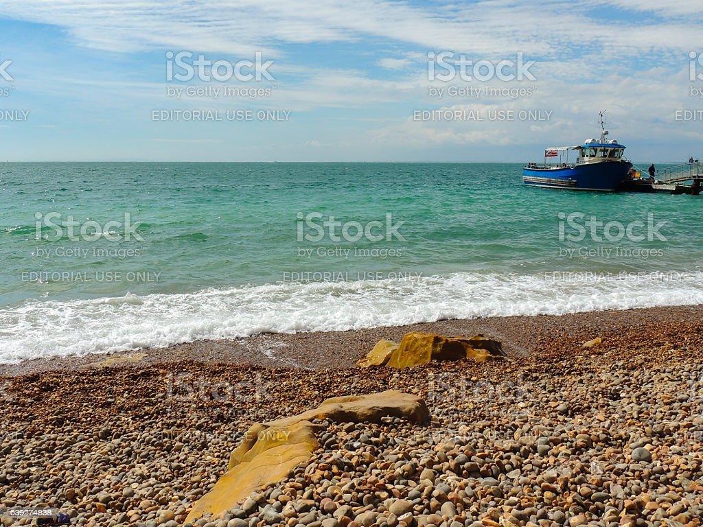 Ferry at the Beach Jetty - Alum Bay stock photo