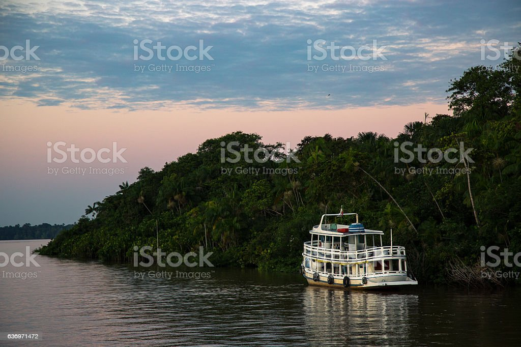 Ferry Boat Amazon River and Rainforest, Pará State, Brazil stock photo