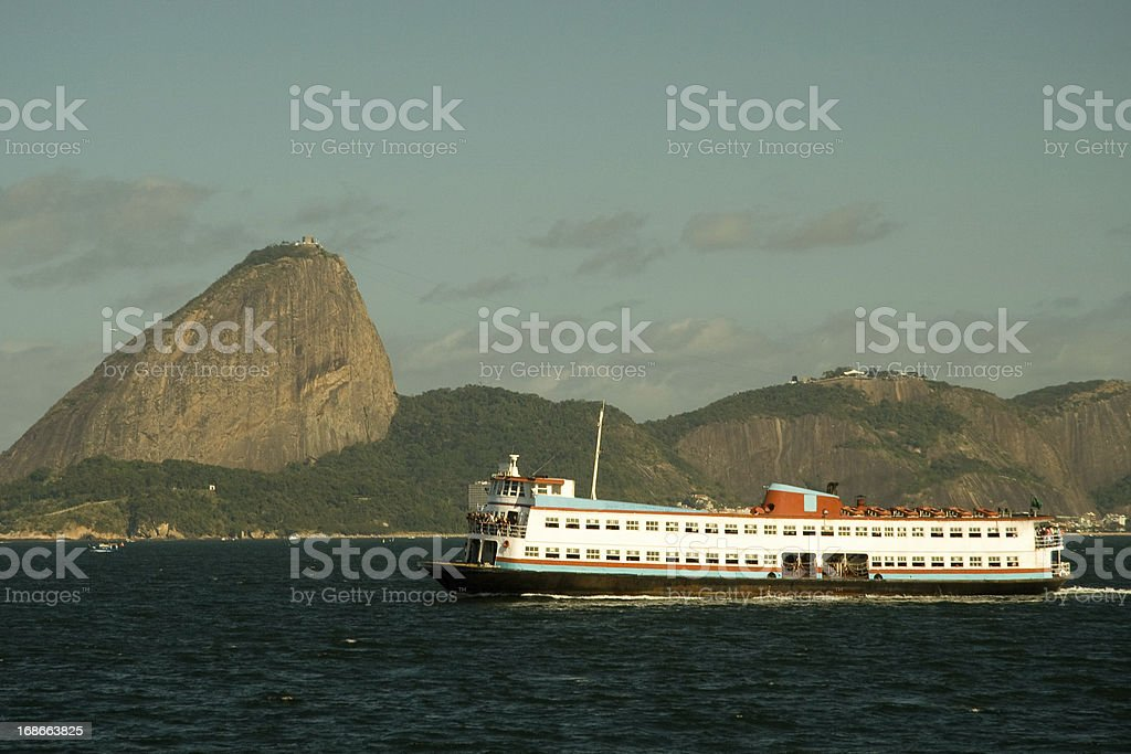 Ferry boat and Sugarloaf Mountain royalty-free stock photo