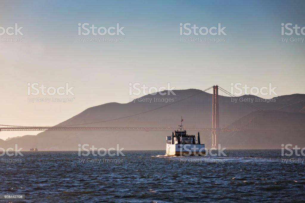 Ferry Boat and the Golden Gate Bridge stock photo