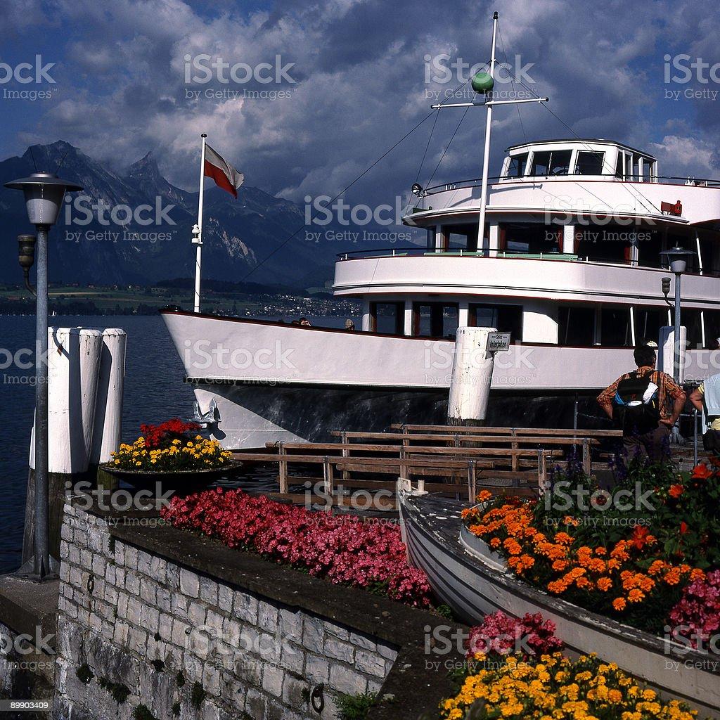 Ferry boat at Spiez on Lake Thun Switzerland royalty-free stock photo
