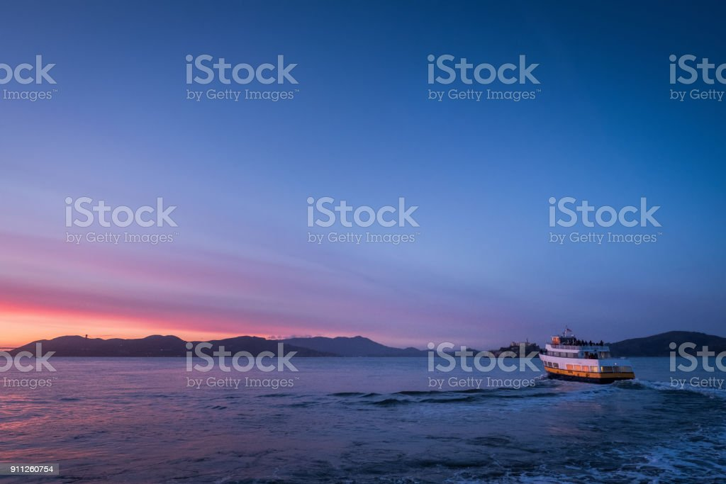 Ferry Boat at Sunset stock photo