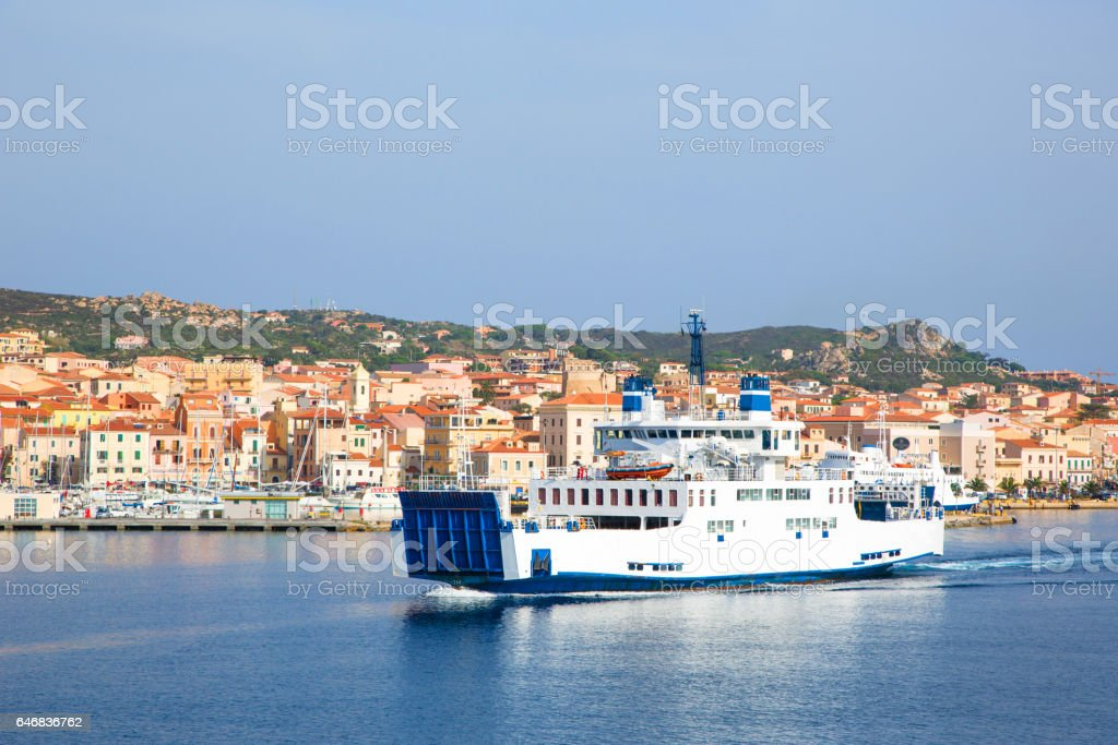 Ferry boat from harbour island of the Maddalena, Sardinia, Italy stock photo