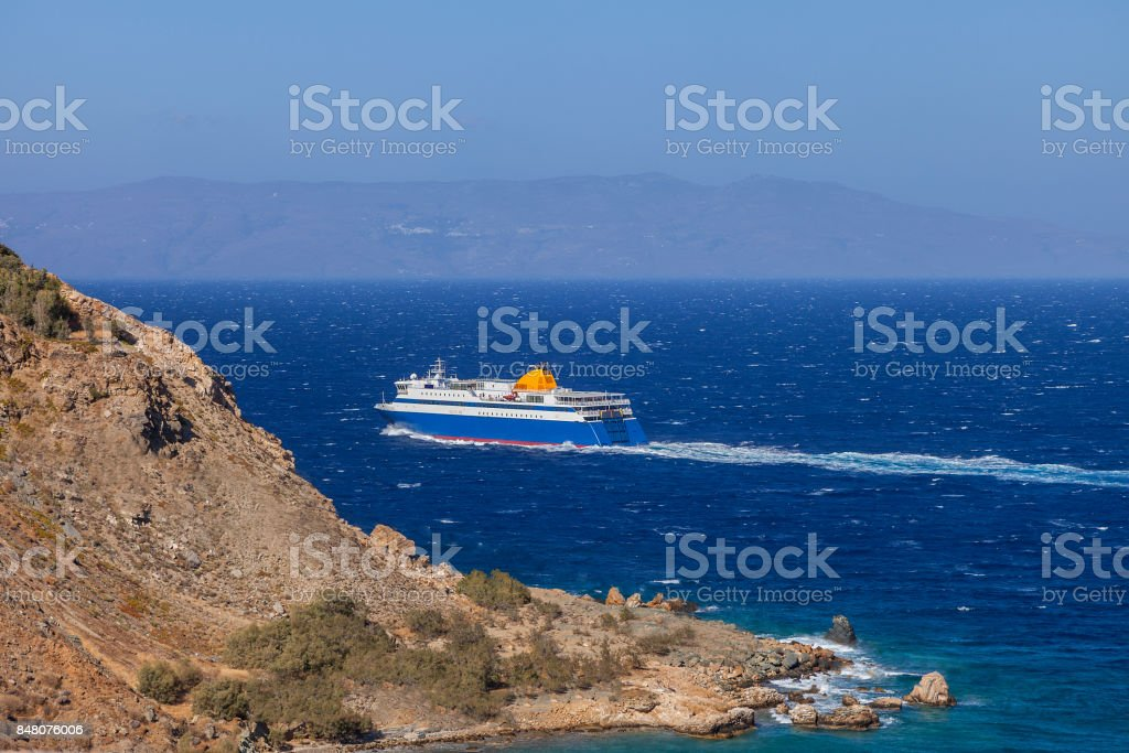 Ferry Boat in the sea stock photo