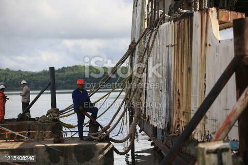 salvador, bahia / brazil - march 8, 2019: Scrap of the Ferry Boat Monte Serrat and Ipuacu, seen anchored at Aratu Marina. The boats that made the crossing of vehicles and pedestrians from Salvador to Itaparica Island will be disassembled to turn scrap.