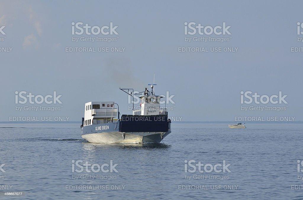 Ferry Boat Motoring on Lake Superior stock photo