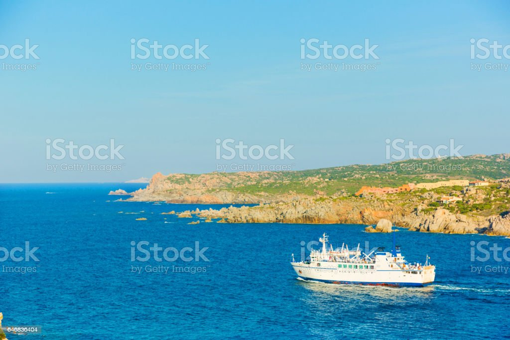 Ferry boat navigating to Santa Teresa of Gallura, Sardinia Italy stock photo