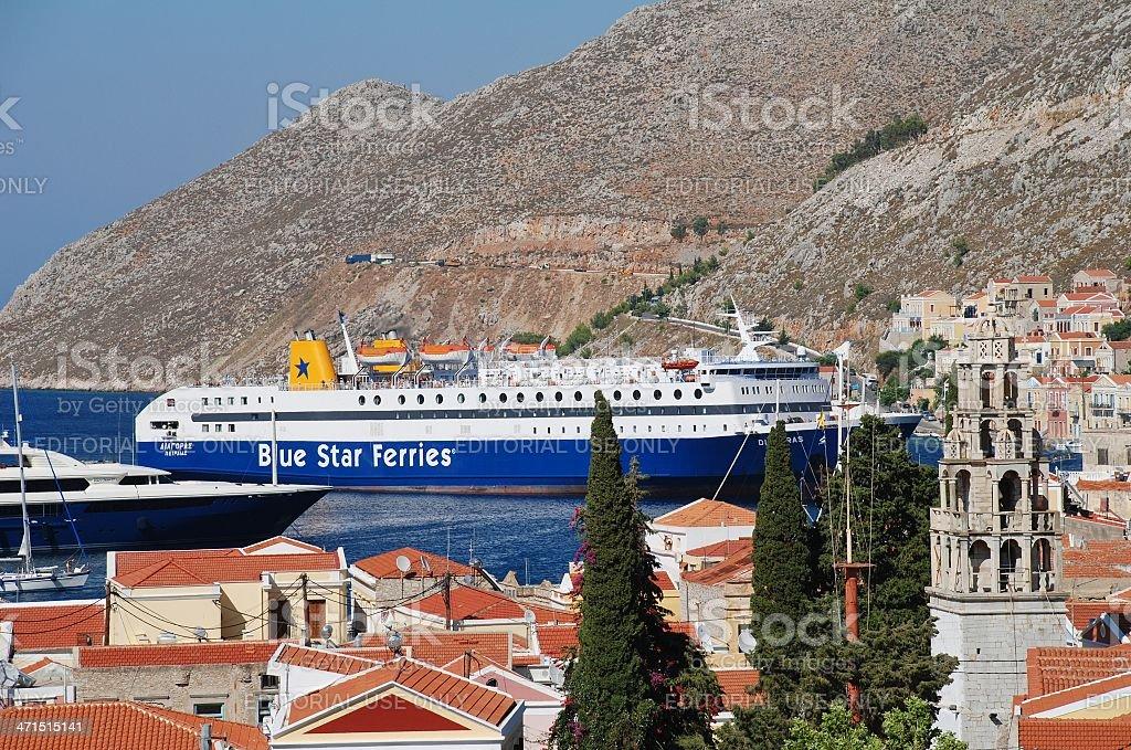 Ferry boat, Symi island stock photo