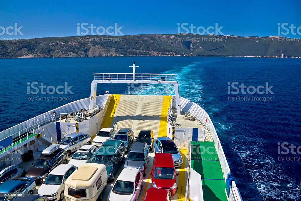 Ferry boat tourist line to island stock photo