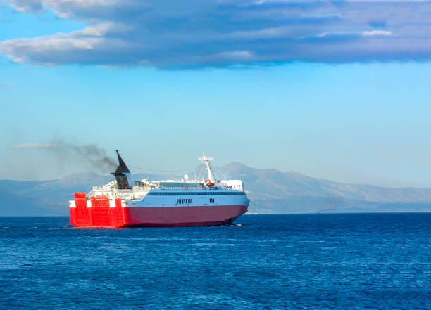 Ferry boat travel to the greek islands oin aegean sea stock photo