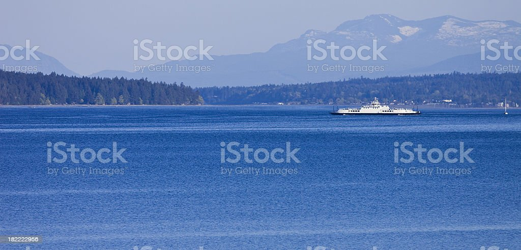 Ferry Crossing Between Vancouver Island and Denman Island British Columbia stock photo