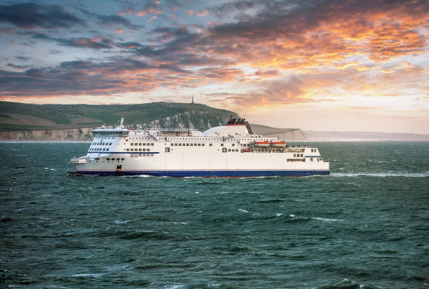 ferry crossing the english channel at sunset - english channel stock pictures, royalty-free photos & images