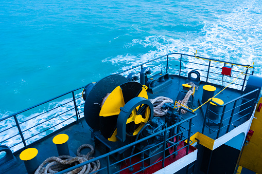 Ferry deck. Drum with mooring rope. Samui , Tailand - 02.09.2020