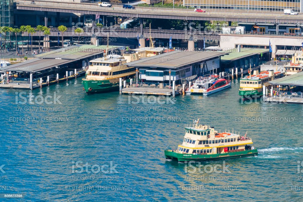 Ferry departing from the Circular Quay in Sydney stock photo