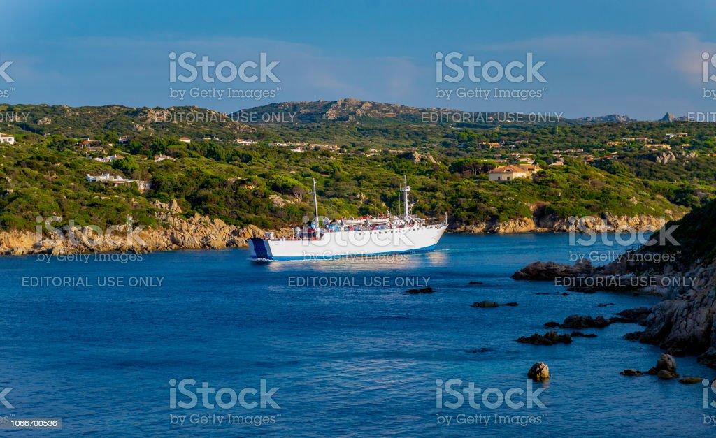 Ferry departs from Santa Teresa di Gallura (Olbia-Tempio, Sardinia, Italy). stock photo