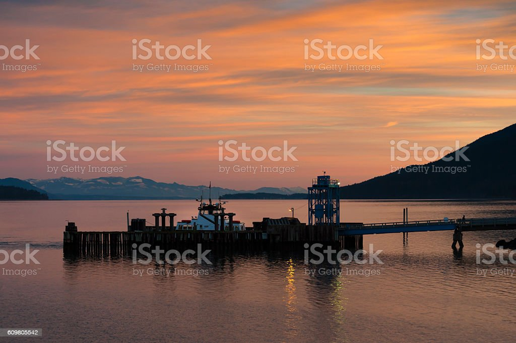 Ferry Dock Sunrise stock photo