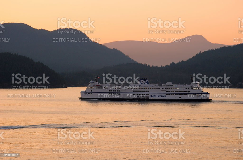 BC Ferry enroute from Horseshoe Bay to Nanaimo at sunset stock photo
