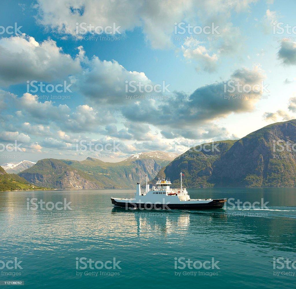 Ferry float across fjord stock photo