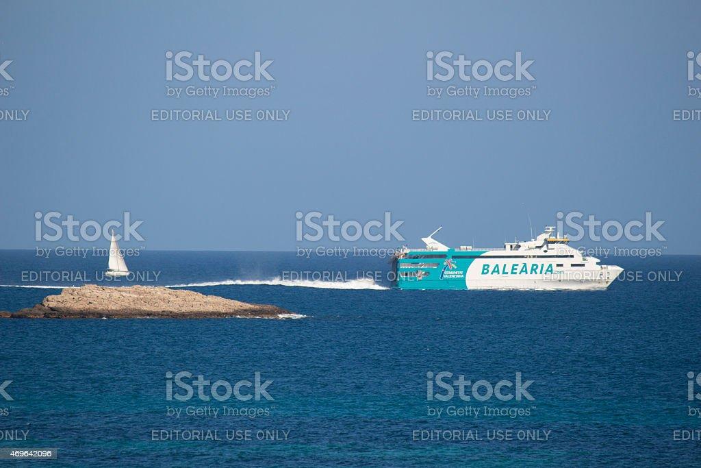 Ferry from Ibiza to Formentera stock photo