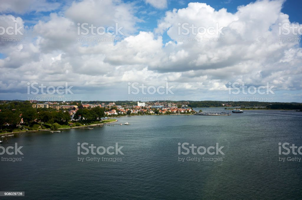 Ferry from Ærø to Svendborg stock photo