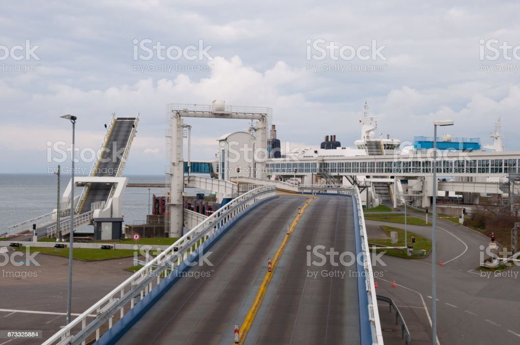 Ferry Harbor in Puttgarden Germany stock photo