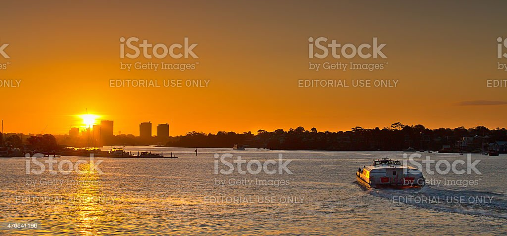 Ferry heading into the sunset on the way to Parramatta stock photo