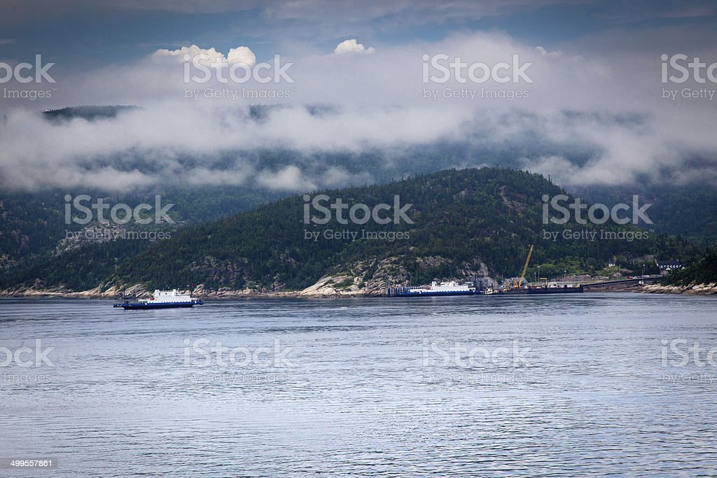 Ferry in a river, Saint Lawrence River, Quebec, Canada royalty-free stock photo