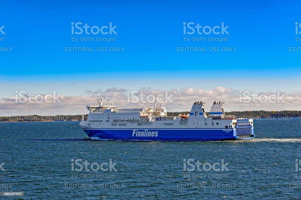 Ferry in Aland archipelago stock photo