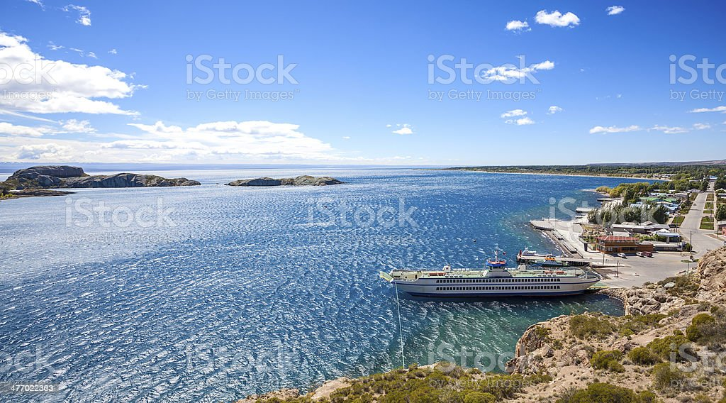 Ferry in Chile Chico. royalty-free stock photo