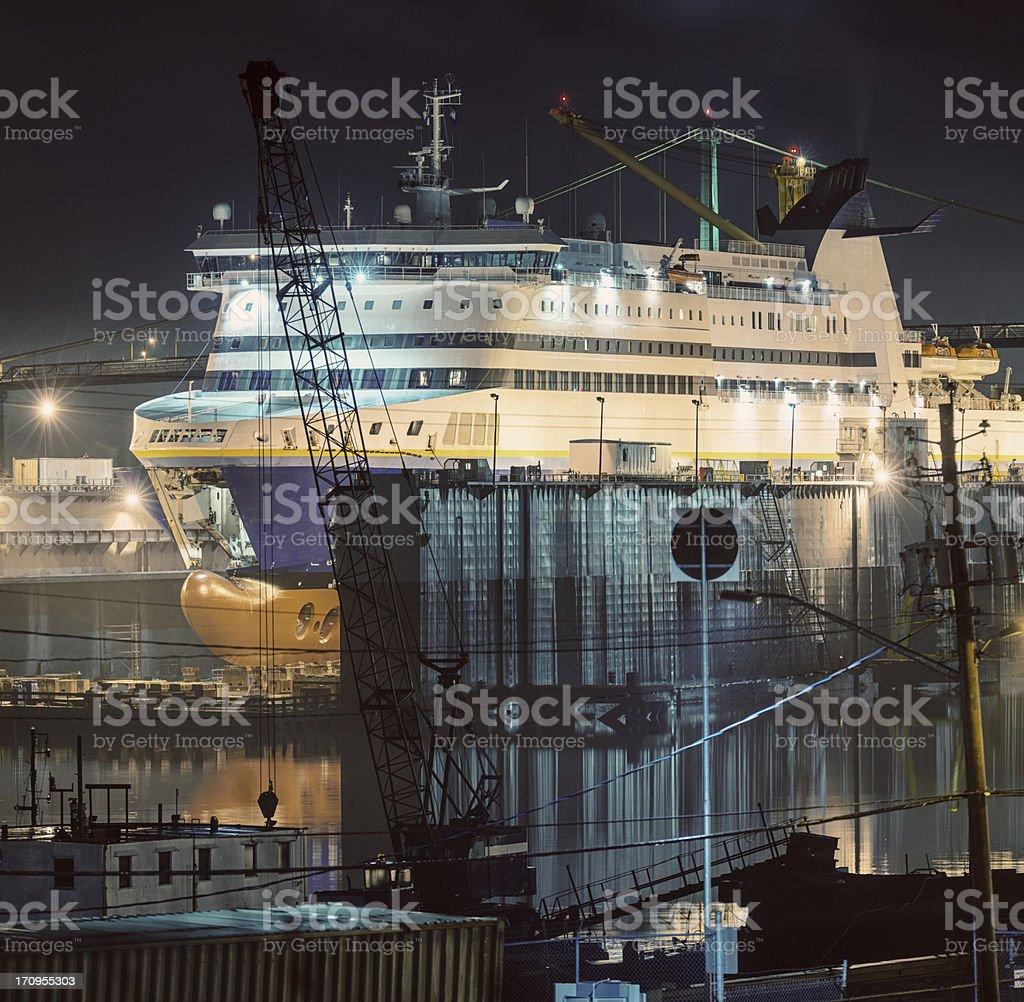 Ferry in Dry Dock stock photo