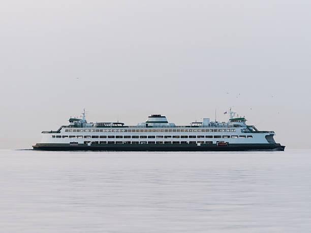 Ferry in Fog stock photo