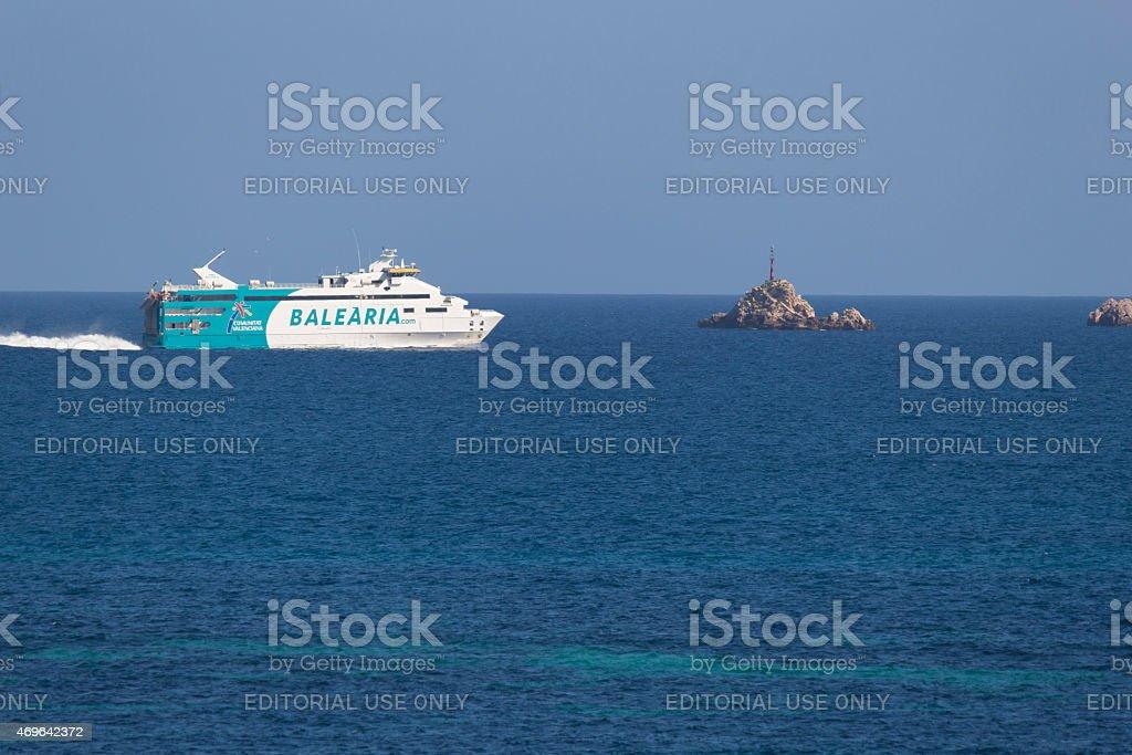 Ferry in Ibiza stock photo
