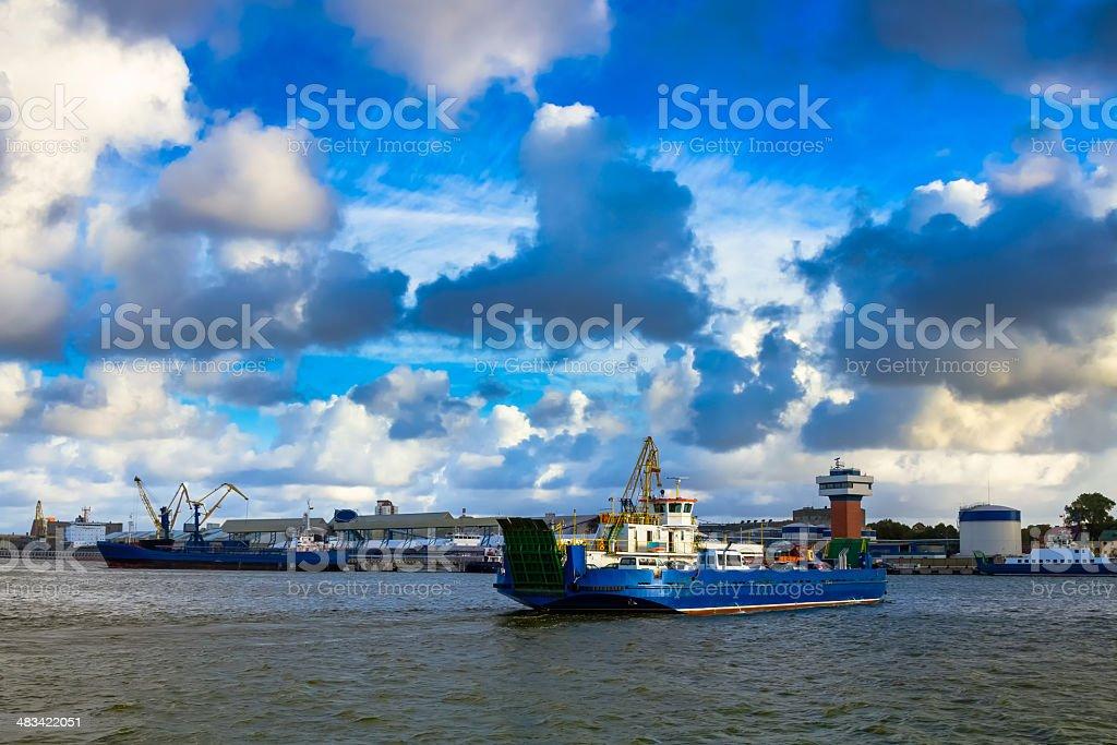 Ferry in Klaipeda port stock photo