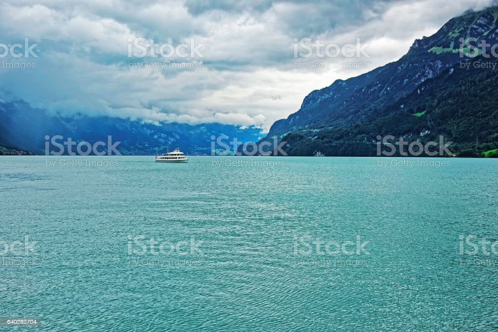 Ferry in Lake Brienz and Brienzer Rothorn mountain Bern Switzerland stock photo