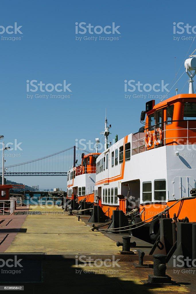 Ferry in Lisboa stock photo