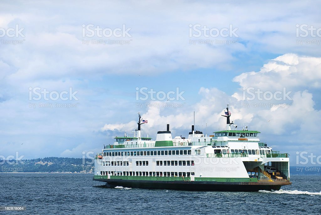 Ferry in Puget Sound region of Washington state royalty-free stock photo