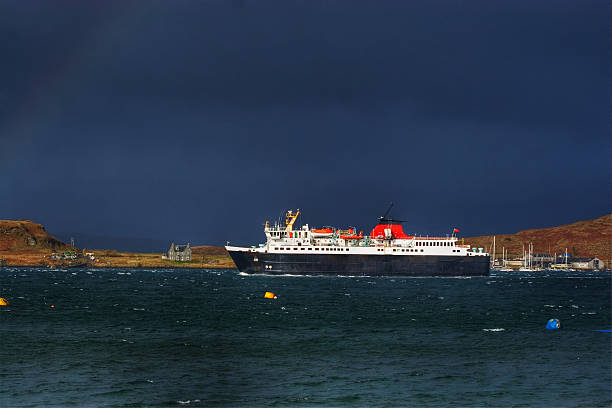 Ferry in Storm stock photo