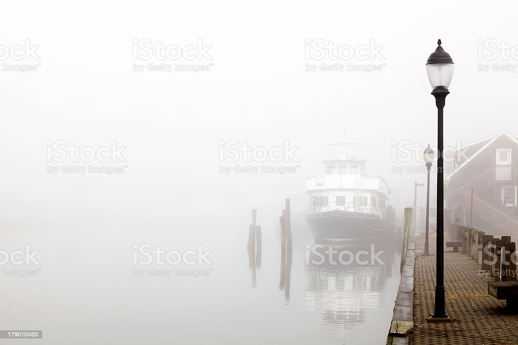 Ferry in the Fog stock photo